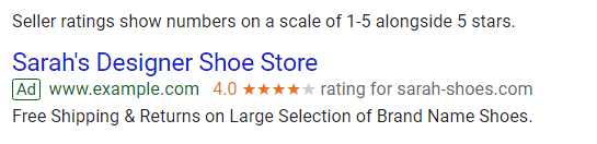 Star-ratings on Google Ads