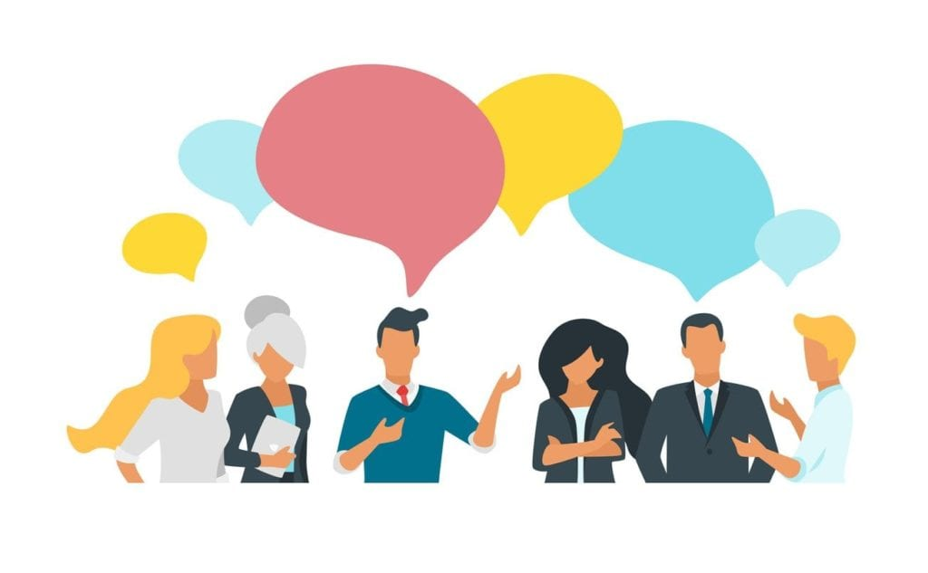 Vector flat style illustration of business people talk about company goals and discussing data. Social networking concept. Minimalism design with people silhouettes and speech bubbles.