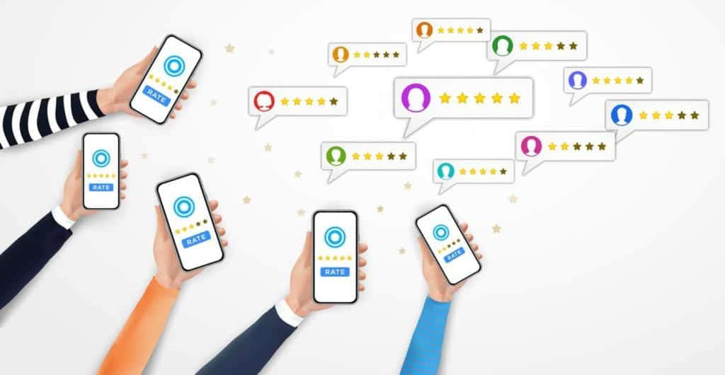 ustomer reviews with stars rate system, client mobile app feedback evaluation