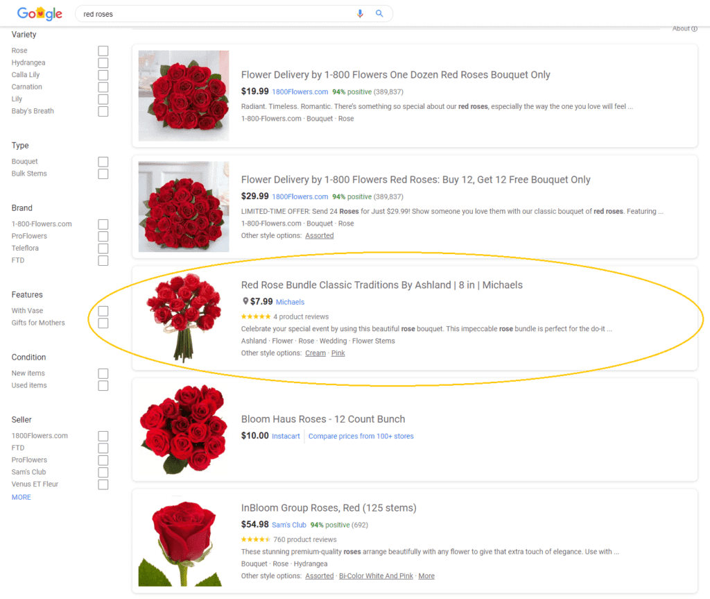 google seller ratings on red rose product listings
